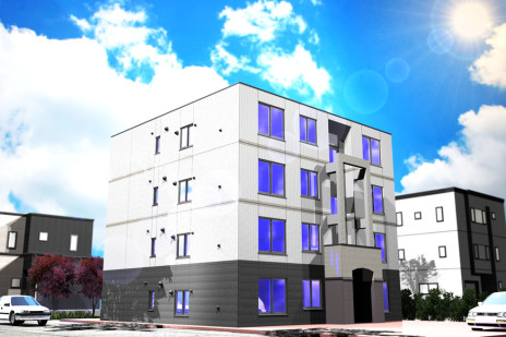 CG建築パース。アパート
