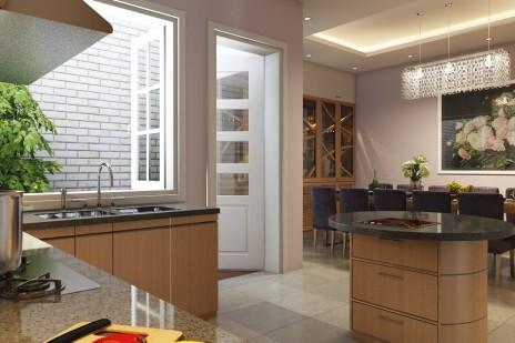 CG建築パース。内装キッチン